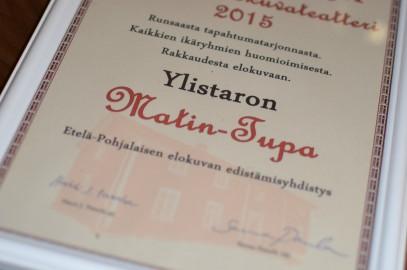 Eteläpohjalaisen elokuvan edistämisyhdistys ry valitsi Matin-Tuvan vuoden elokuvateatteriksi